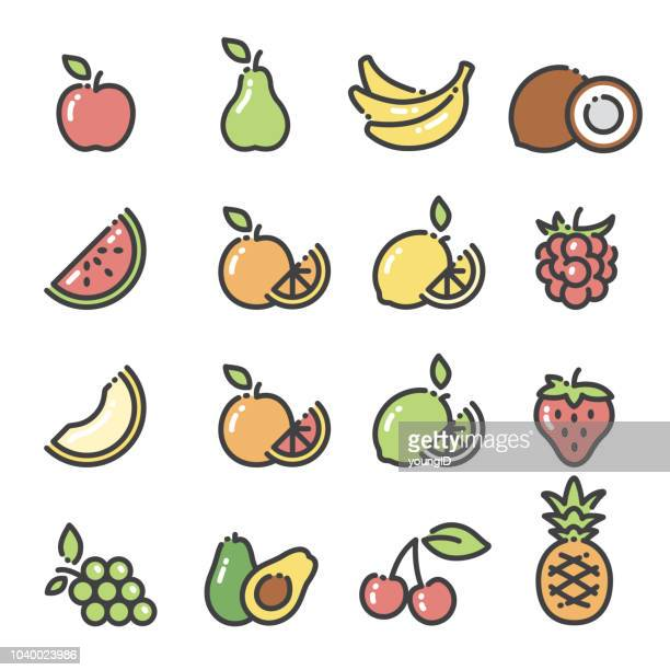 fruits - line art icons set 1 - coconut leaf stock illustrations, clip art, cartoons, & icons