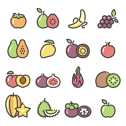Fruits - line art icons set 2 - gettyimageskorea