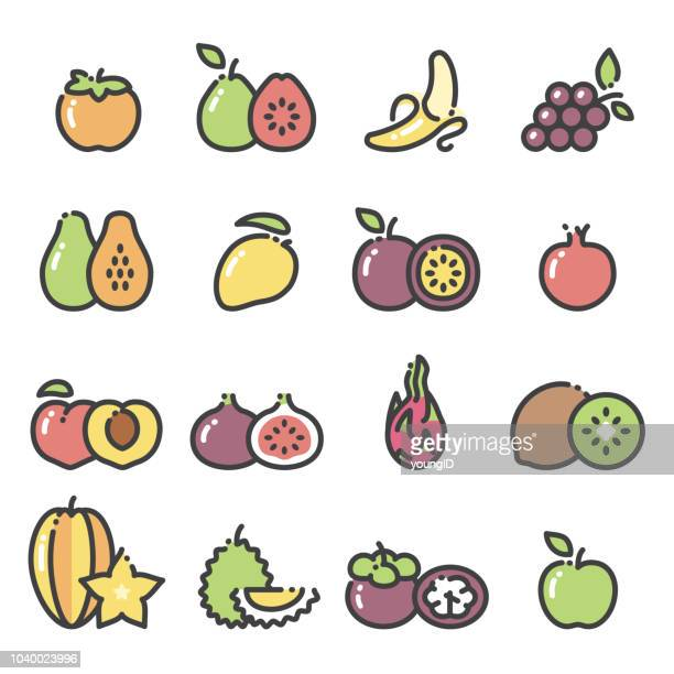 fruits - line art icons set 2 - mango fruit stock illustrations, clip art, cartoons, & icons