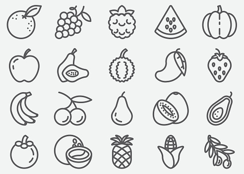Fruits Line Icons - gettyimageskorea