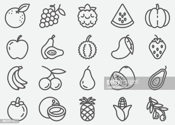 fruits line icons - apple fruit stock illustrations
