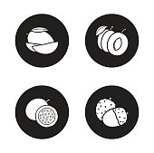 Fruits monochrome icons set