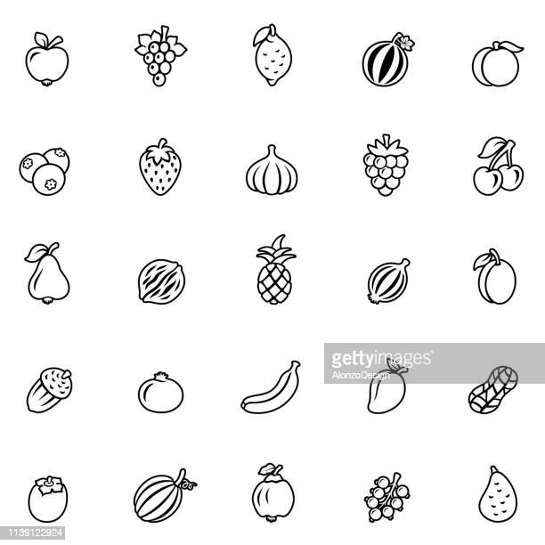 Fruits - outline icon set