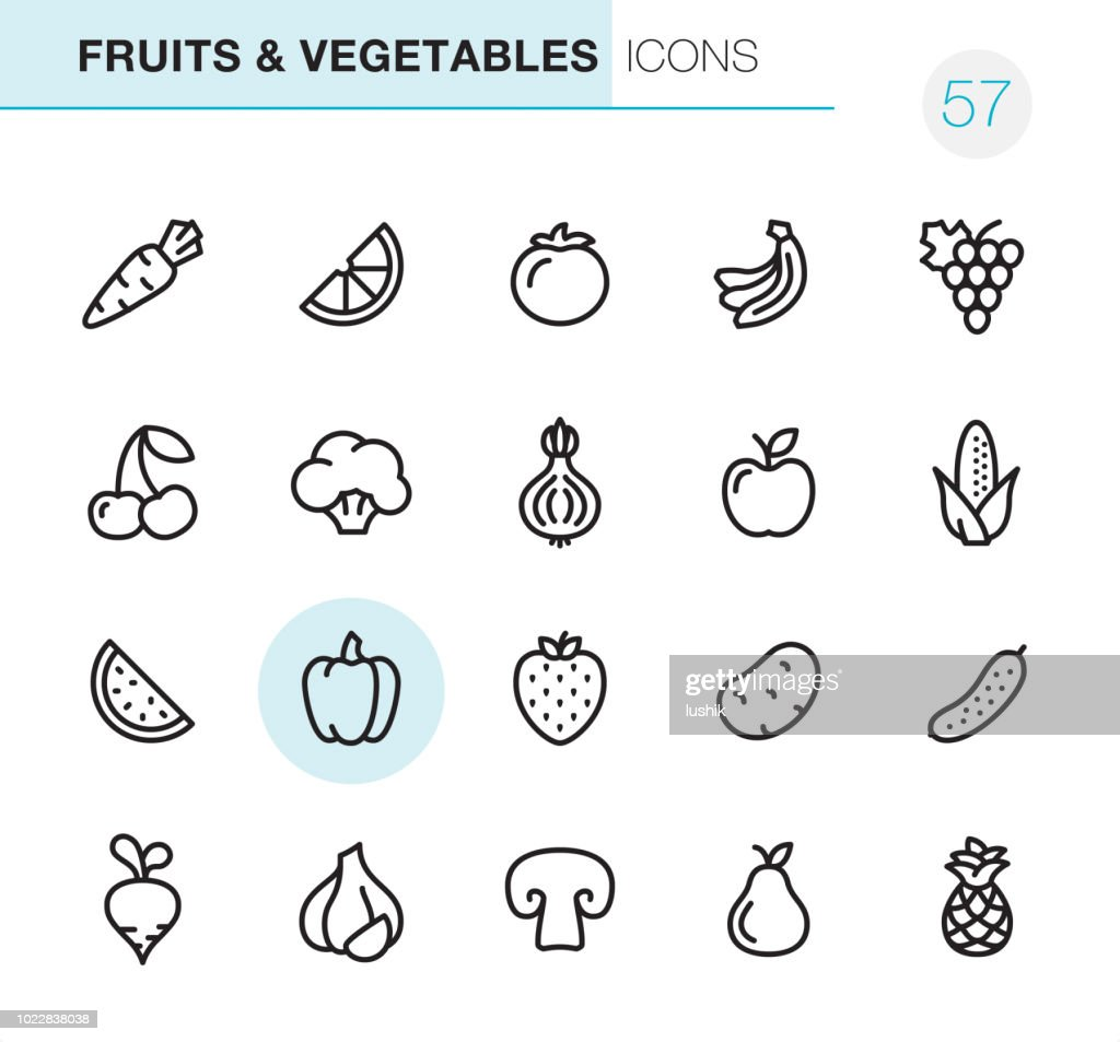 Fruits & Vegetables - Pixel Perfect icons : stock illustration