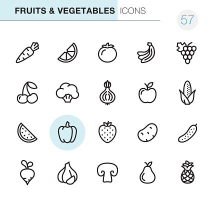 Fruits & Vegetables - Pixel Perfect icons - gettyimageskorea