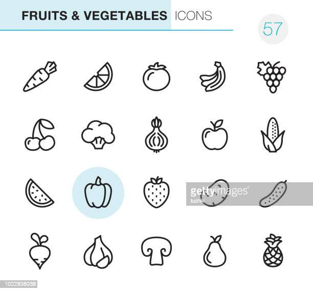 fruits & vegetables - pixel perfect icons - fruit stock illustrations