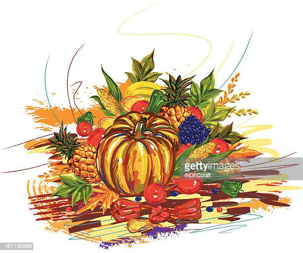 fruits_vagetables - meat pie stock illustrations, clip art, cartoons, & icons