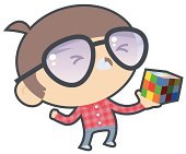Frustrated Boy with Puzzle Cube