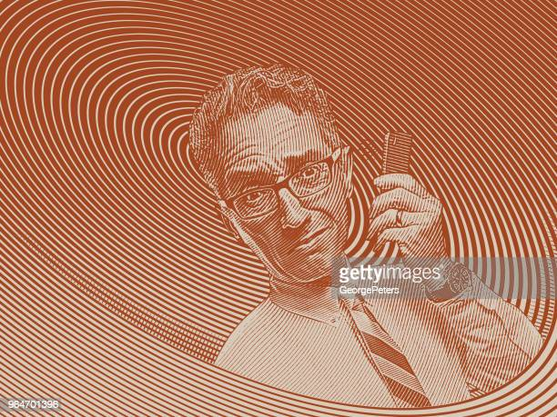 Frustrated businessman talking on mobile phone