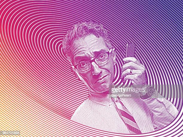 携帯電話で話している不満の実業家