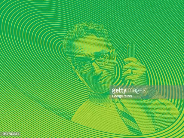 Frustriert Geschäftsmann telefonieren mit Handy