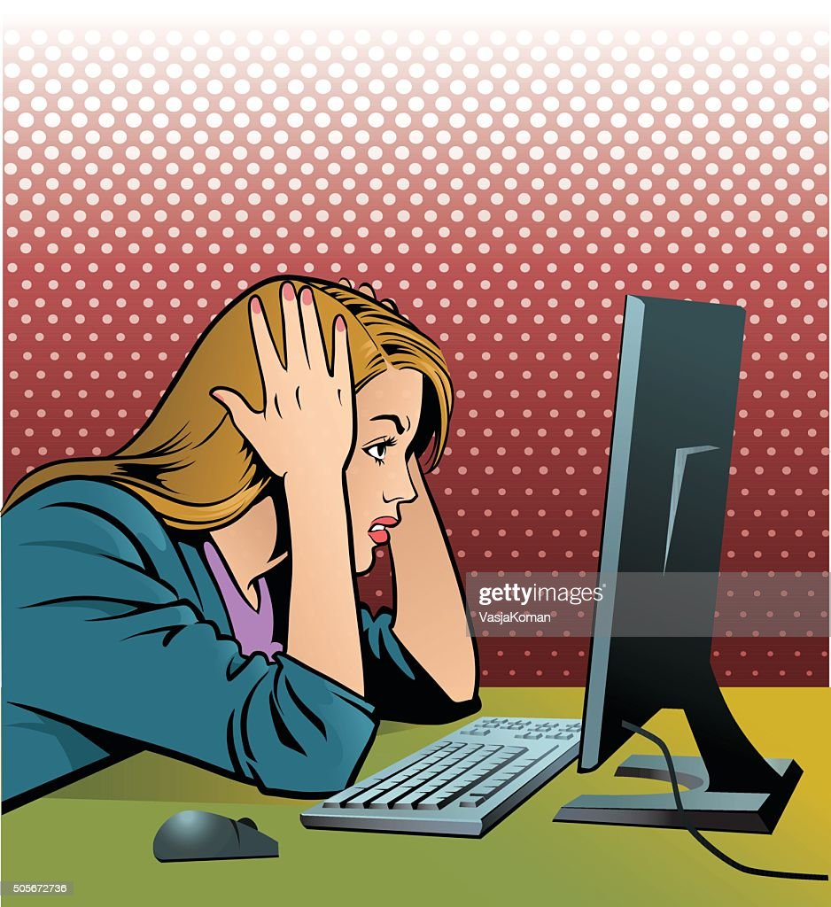 Frustrated Computer Operator : stock illustration