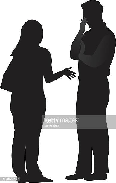 frustrated couple silhouette - arguing stock illustrations