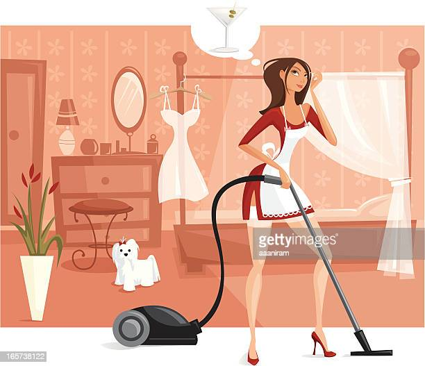 Frustrated Housewife With Vacuum Cleaner