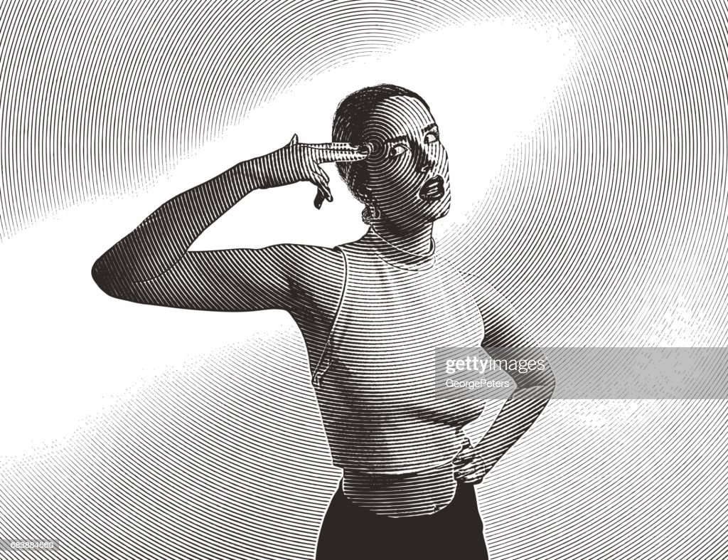 Frustrated woman pretending to shoot self in the head : stock illustration