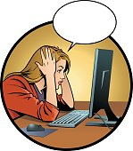 Frustrated Young Woman and Computer