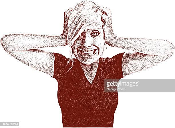 ilustraciones, imágenes clip art, dibujos animados e iconos de stock de joven mujer frustrada - tirarse de los pelos