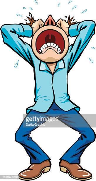 ilustraciones, imágenes clip art, dibujos animados e iconos de stock de frustración - tirarse de los pelos