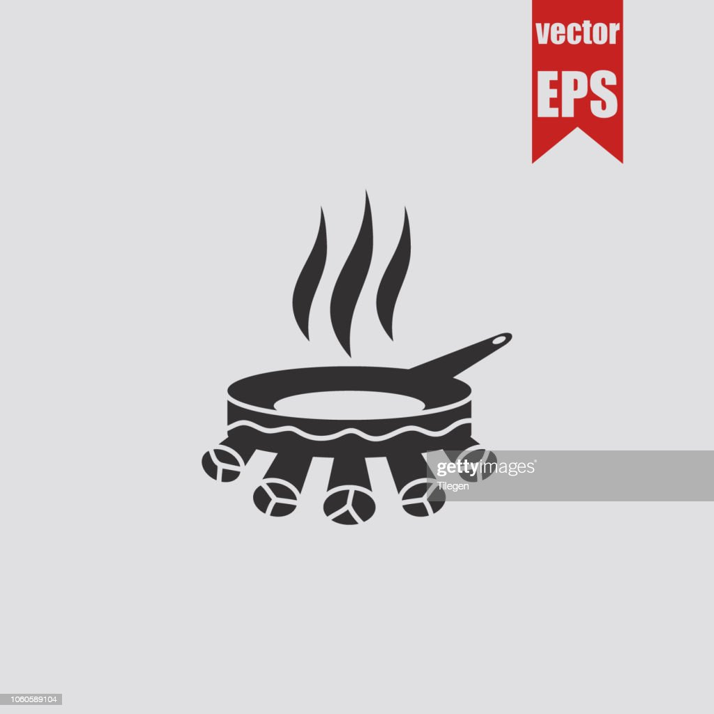 Frying pan at the stake icon.Vector illustration.
