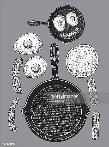 frying pan - bacon, eggs, pancakes, sausage - frying pan stock illustrations