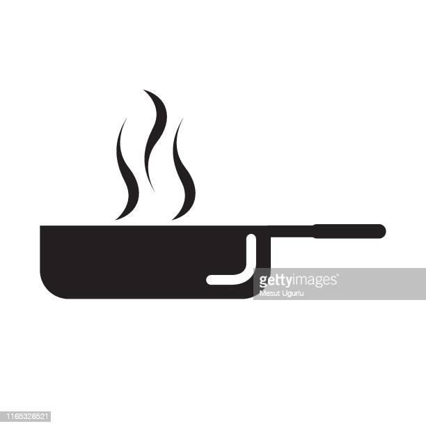 フライパングリフアイコン、キッチン、料理、 - ロースト点のイラスト素材/クリップアート素材/マンガ素材/アイコン素材