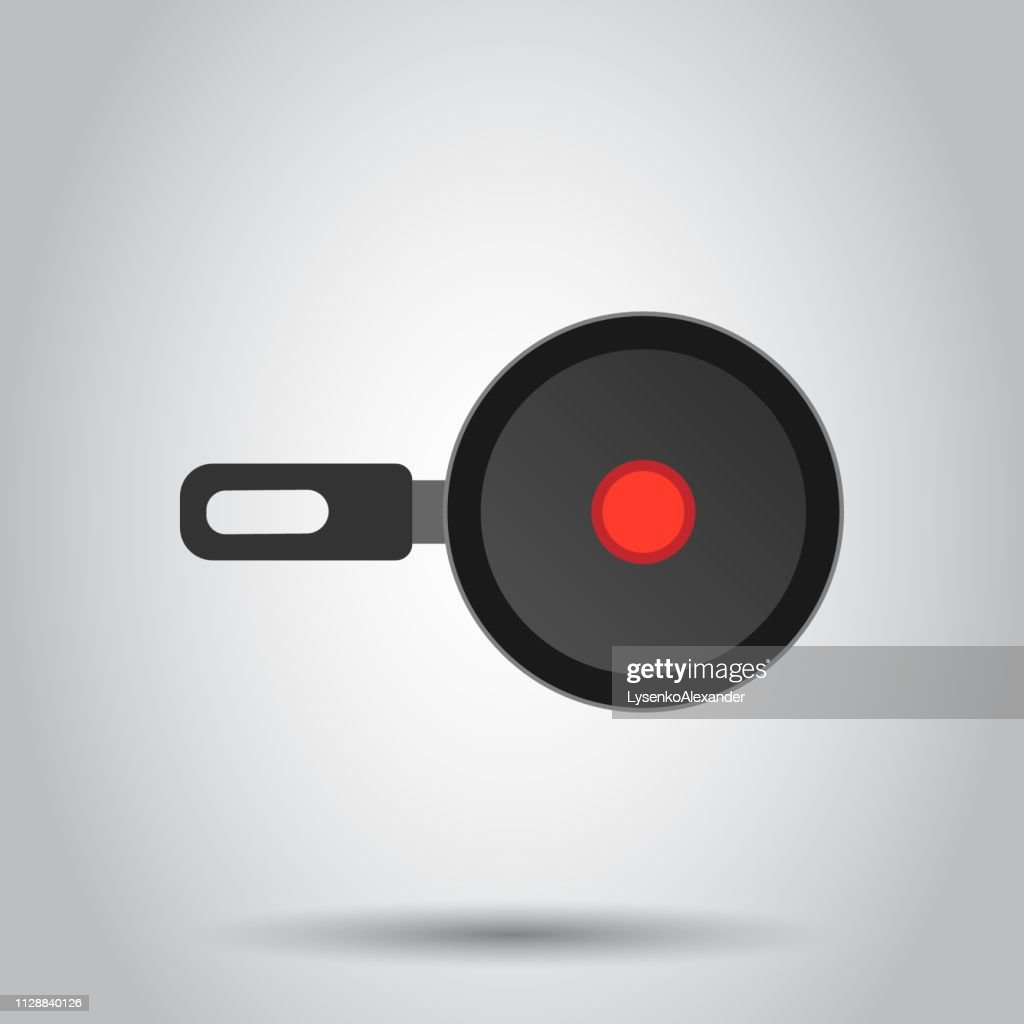 Frying pan icon in flat style. Cooking pan illustration on white background. Skillet kitchen equipment business concept.