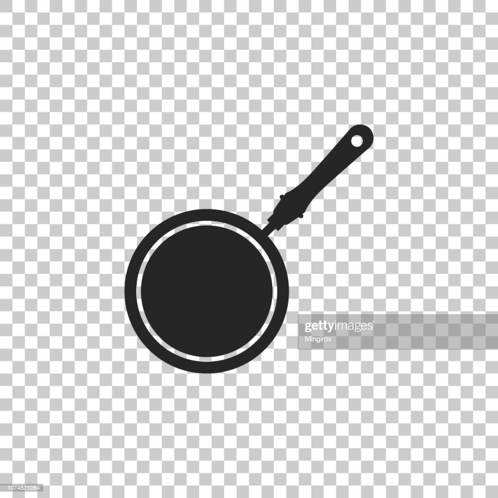 Frying pan icon isolated on transparent background. Flat design. Vector Illustration