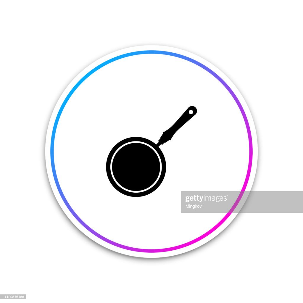 Frying pan icon isolated on white background. Circle white button. Vector Illustration