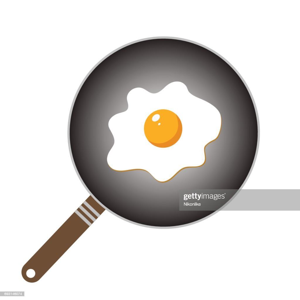 Frying pan icon on white.