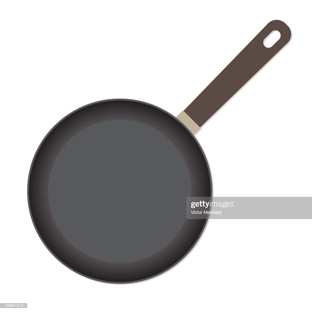 Frying pan icon or sign isolated on white background. Vector illustration.