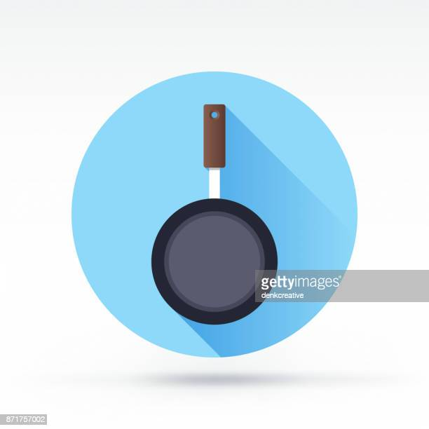 frying pan icon - kitchenware department stock illustrations, clip art, cartoons, & icons