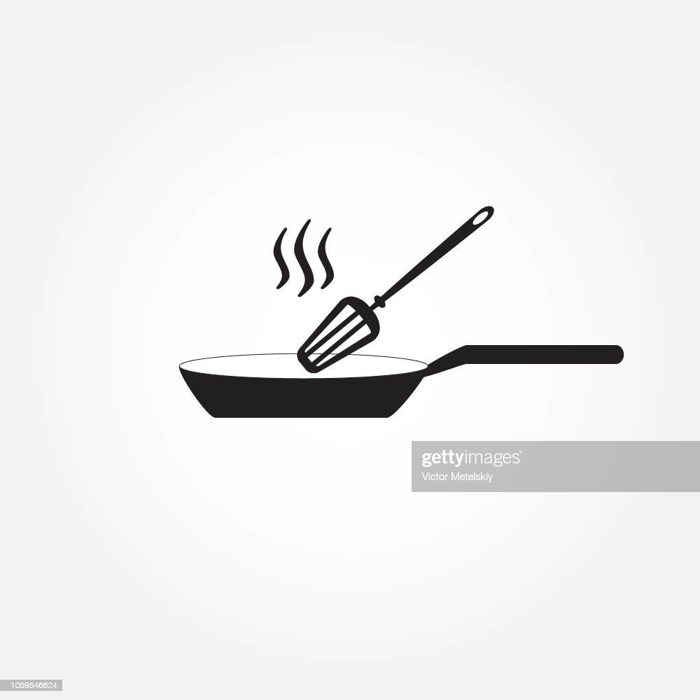 Frying pan sign icon. Fry or roast food symbol. Vector illustration for restaurant design.