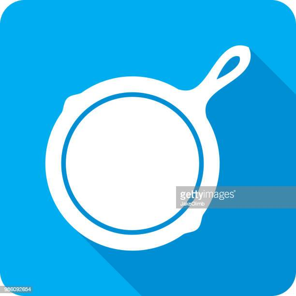 frying skillet icon silhouette - frying pan stock illustrations