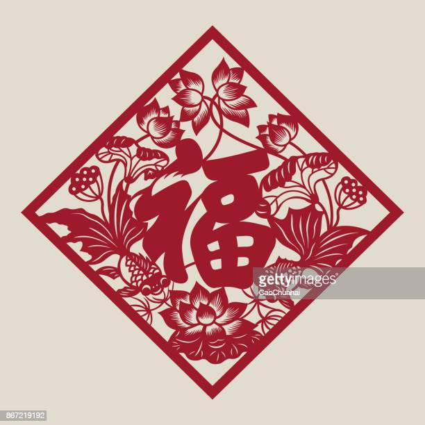 fu character(chinese traditional paper-cut art)-12 - religious blessing stock illustrations