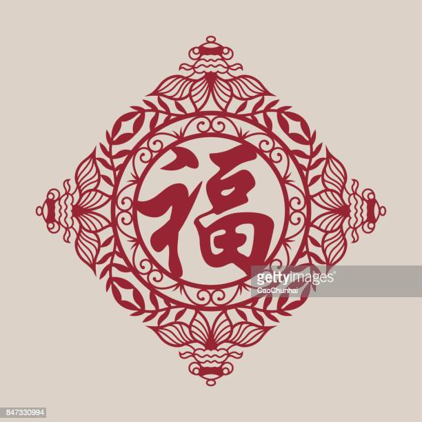 """fu character(chinese traditional paper-cut art),the text in the picture is """"fu"""",meaning blessing,and good fortune - chinese script stock illustrations"""
