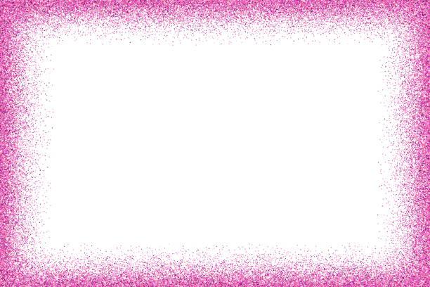 fuchsia glitter frame - femininity stock illustrations