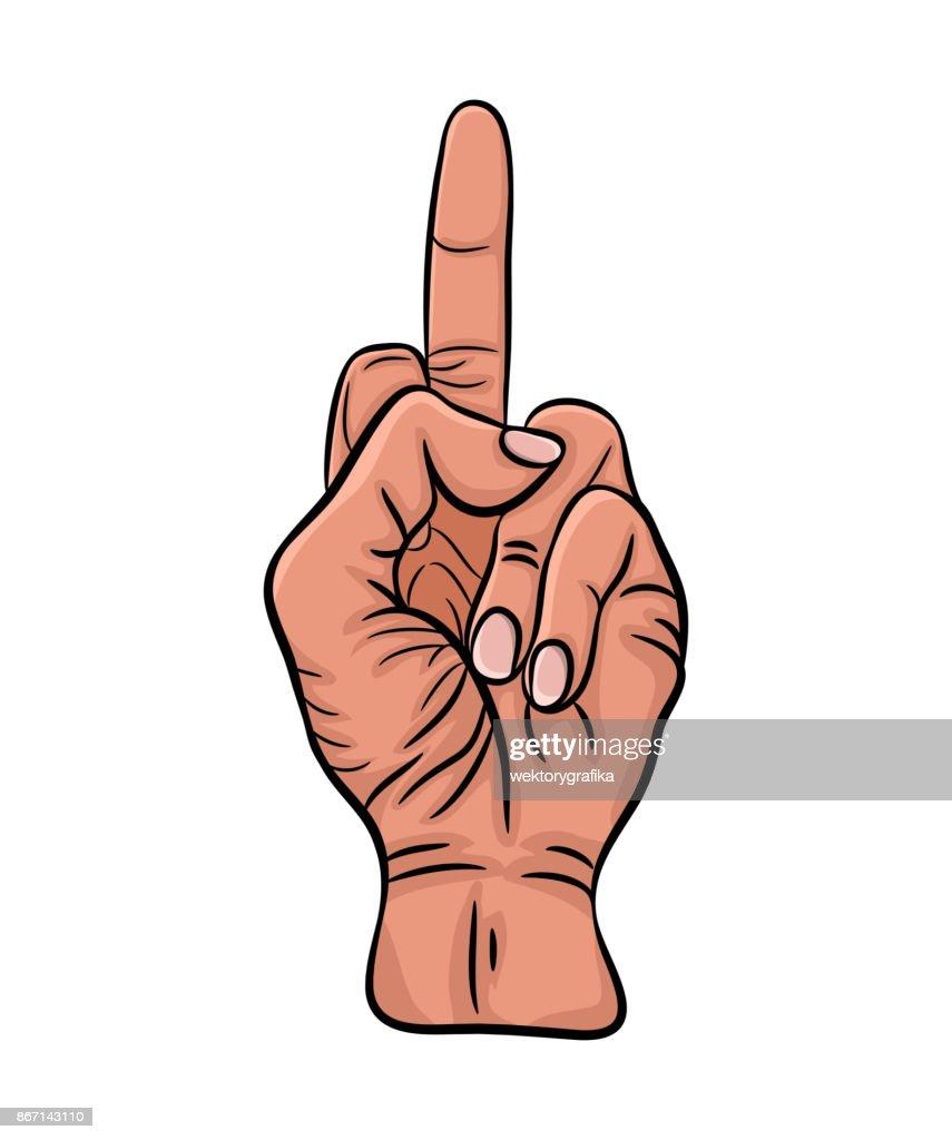 fuck finger hand caucasian  vector  design isolated on white background