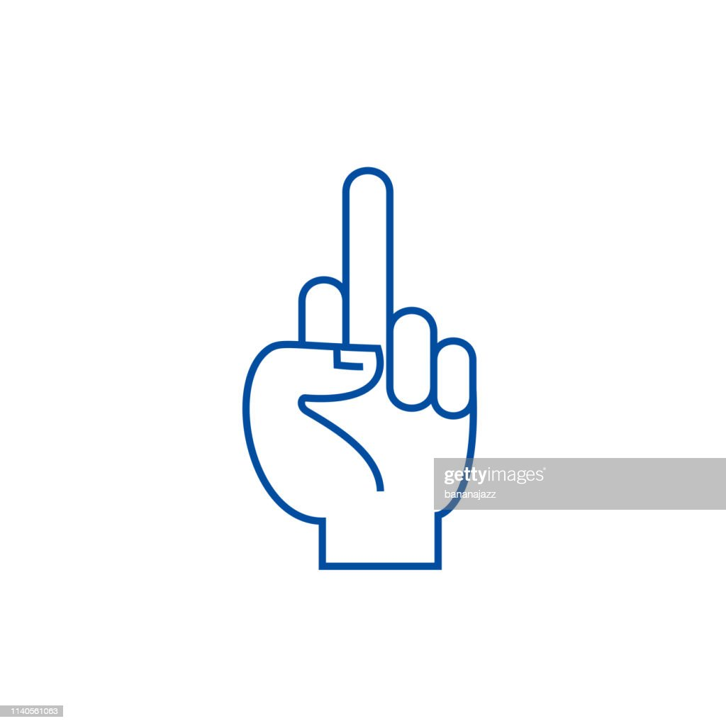 Fuck you hand line icon concept. Fuck you hand flat  vector symbol, sign, outline illustration.