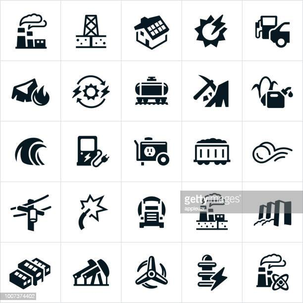fuel and energy production icons - generator stock illustrations