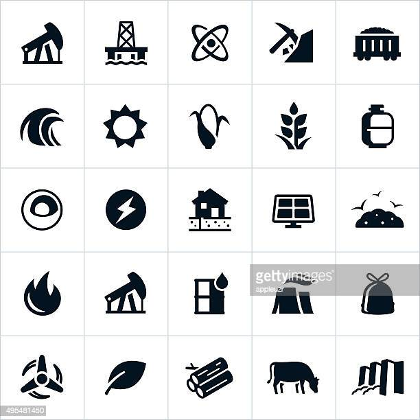 fuel and energy production icons - tide stock illustrations, clip art, cartoons, & icons