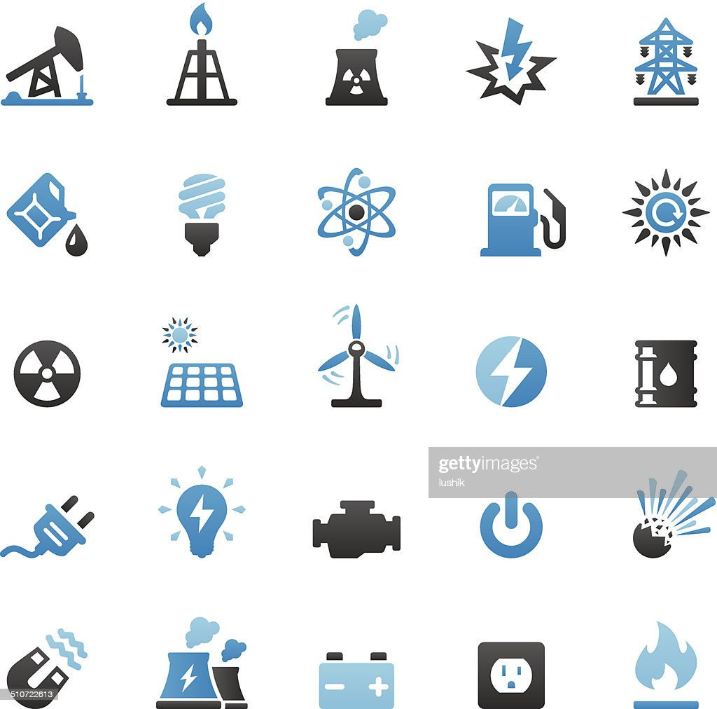 Fuel and Power Generation icons set