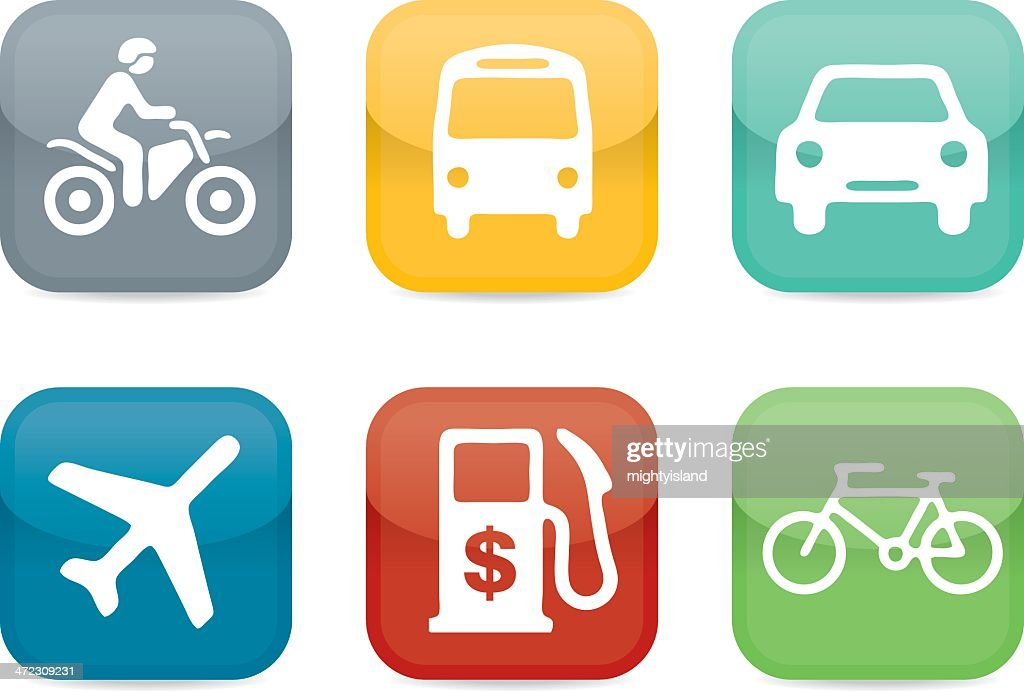 Fuel and travel simple glossy icon set