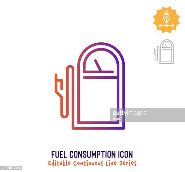 燃料消費連続的なライン編集可能なアイコン - ヤードポンド法点のイラスト素材/クリップアート素材/マンガ素材/アイコン素材