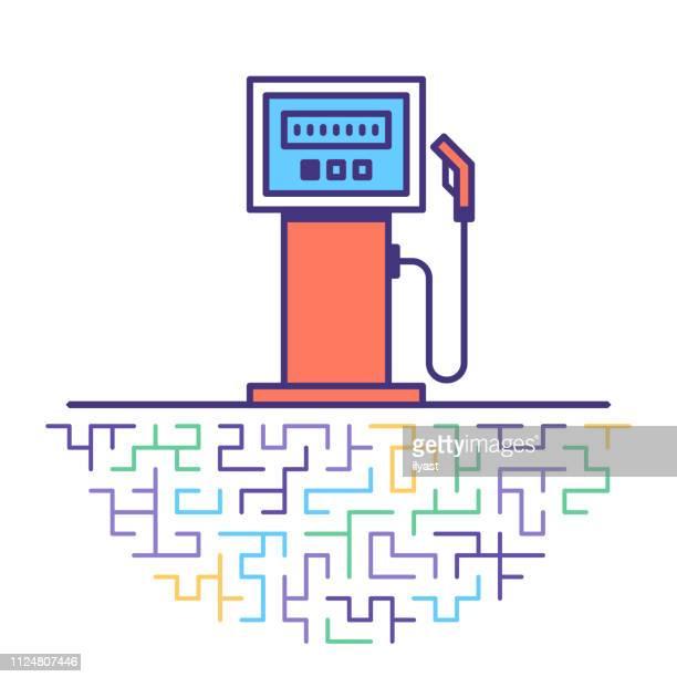 fuel consumption flat line icon illustration - water valve stock illustrations, clip art, cartoons, & icons