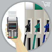 Fuel Dispenser And Fuel Nozzles At A Filling Station To Pump Petrol, Gas, Diesel. Contactless Wireless Payment.  Vector