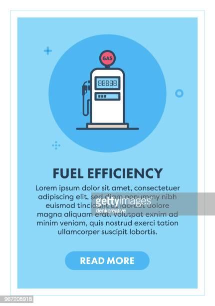 illustrations, cliparts, dessins animés et icônes de l'efficacité de carburant concept bannière - fuel pump