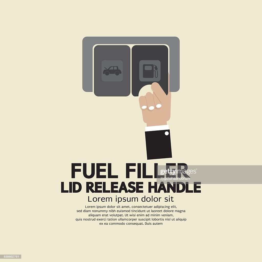 Fuel Filler Lid Release Handle : Vector Art