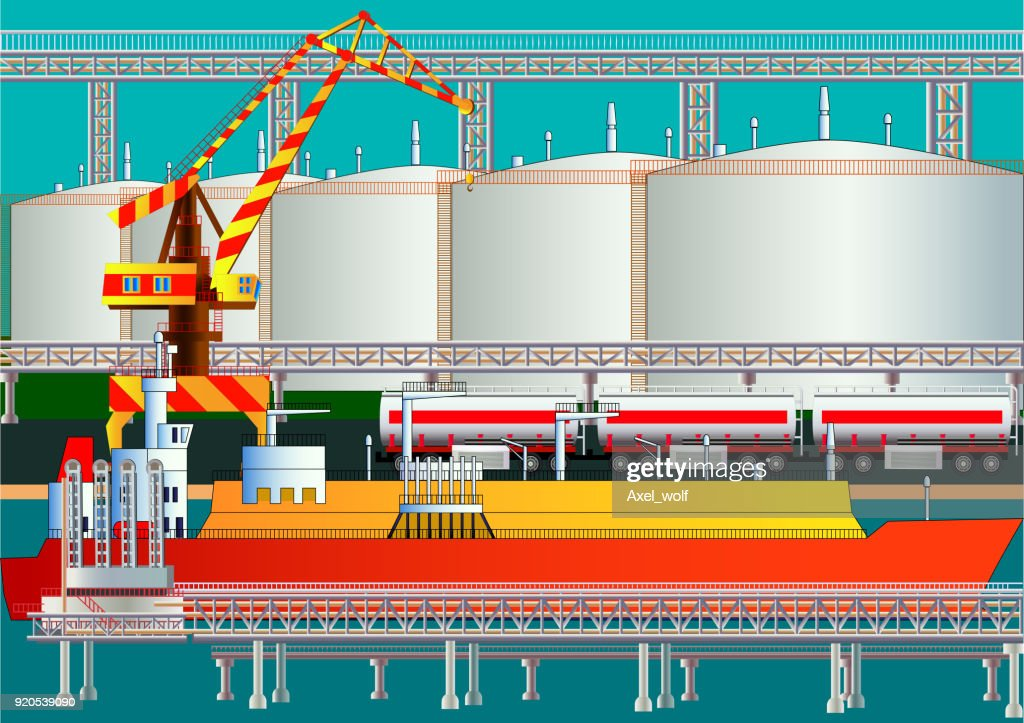 Fuel gas tanker, LNG transporter, gas terminal and tanks. Vector