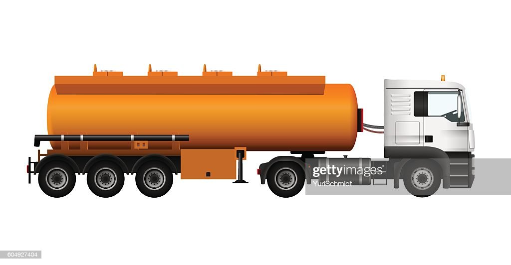 Fuel gas tanker truck template. Vector isolated cargo Trailer
