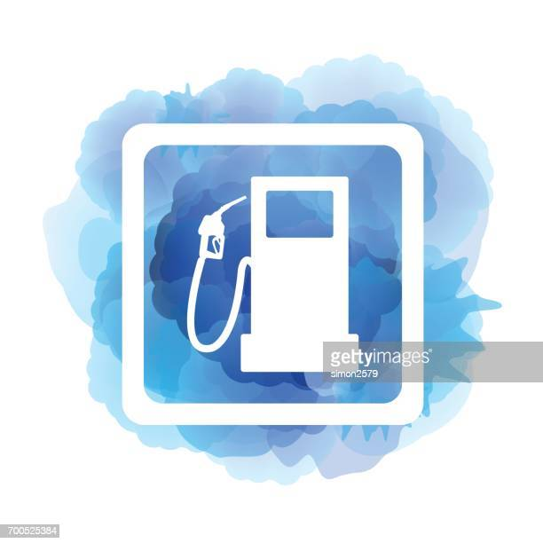 fuel icon on blue color watercolor pattern background - fuel station stock illustrations, clip art, cartoons, & icons